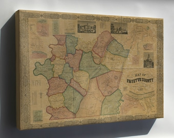 Canvas 24x36; Map Of Fayette Co., Pennsylvania 1858 P2
