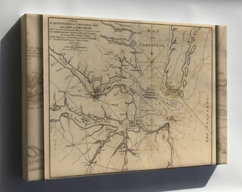 Canvas 24x36; Revolutionary War Map Of Chesapeake Bay