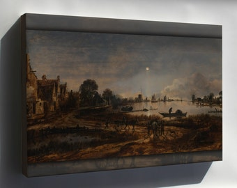 Canvas 24x36; River View By Moonlight By Aert Van Der Neer