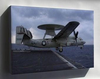Canvas 24x36; E-2C Hawkeye (Vaw-115) Uss Kitty Hawk (Cv 63)