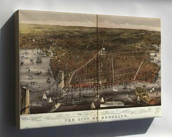 Canvas 24x36; Birdseye View Map Of Brooklyn New York City 1879
