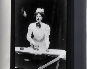 Canvas 24x36; House Maid Ironing A Lace Doily With Ge Electric Iron 1908