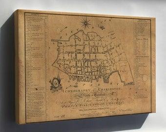 Canvas 24x36; Building Map Of Charleston South Carolina 1790