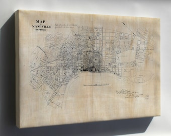 Canvas 24x36; Map Of Nashville, Tennessee 1860