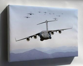Canvas 24x36; Thirteen C-17 Globemaster Iii Over Blue Ridge Mountains