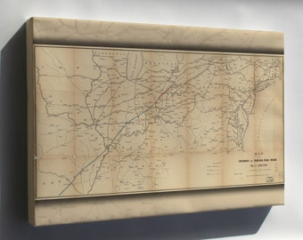 Canvas 16x24; Map Of The Fremont And Indiana Rail Road 1858