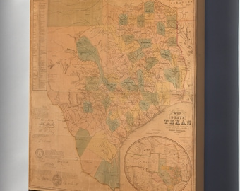 Canvas 16x24; Map Of The State Of Texas 1853 P2