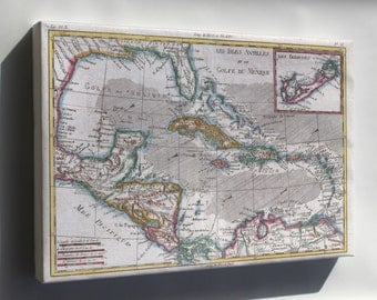 Canvas 16x24; 1780 Raynal And Bonne Map Of The West Indies, Caribbean, And Gulf Of Mexico Cuba Florida Mexico Haiti