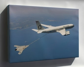 Canvas 16x24; Navys X-47B Uav Drone Fuels From An Boeing 707-368C Tanker