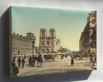 Canvas 16x24; Notre Dame, And St. Michael Bridge, Paris, France 1890