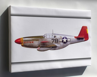 Canvas 16x24; P-51C Mustang Flown By Tuskegee Airmen