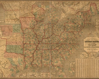16x24 Poster; Map Of United States Railroad & Stage Coach 1847