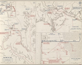 16x24 Poster; Map Of War Of 1812 Washington D.C. Baltimore & New Orleans, 1814