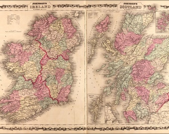 16x24 Poster; Map Of Ireland And Scotland 1862