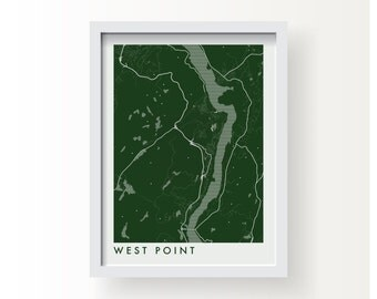 WEST POINT Map Print - graphic drawing art poster Black Knights