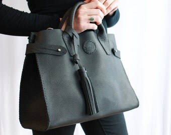 Sadie Leather Doctor's Bag in Black Pebbled Leather by Beargrass Leather, Horween Leather, Made in Montana -- FREE Shipping in USA