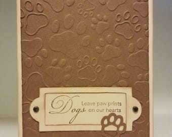 Greeting Card, Dog Greeting Card, Embossed with Paw Prints