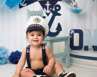1st Birthday Outfit, Ship Captain Outfit, Personalised Outfit, Baby Boy 1st Birthday Outfit, Cake Smash Outfit, Photo Prop, Halloween Outfit