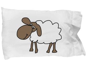 Sheep Pillowcase; Animal Lover Gift, Farm Animal Gift, Kid's Bedding, Youth Bedding, Funny Pillowcase