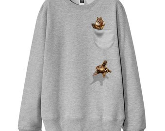 """Men Sweatshirt, Women Sweatshirt, Gift for dad, Gift for him, Gift for mom, """"Funny Pocket Chipmunk"""" French Terry Sweater"""