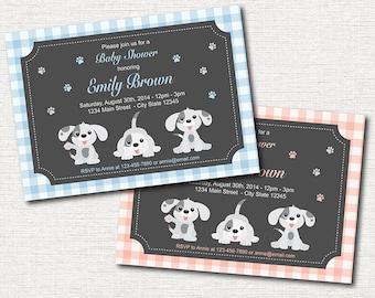 Puppies Baby Shower Invitation, Puppy Invitation, plaid, Pink, blue, Grey, Girl, Boy, Printable