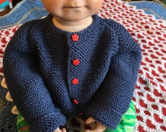 Wonderful gorgeous knitted royal blue cardigan with red buttons 6 to 12 months