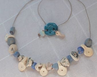 Necklace blue and white