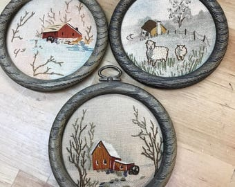 Set of 3 vintage needlepoint pictures barn farmhouse and sheep