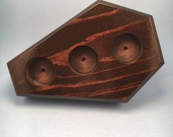Chocolate stain coffin candleholder