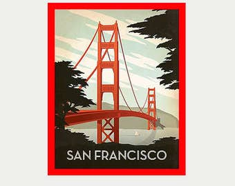 Golden Gate Bridge Decal - San Francisco Decal - Golden Gate Decal - RV Decal - Vintage Style Decal - San Francisco Laptop Decal - S187