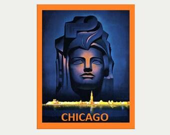 Chicago Vintage - Chicago Art Deco Sticker - Vintage Style Chicago Decal - Chicago Car Decal - Chicago RV Decal - Chicago Laptop Decal  S207