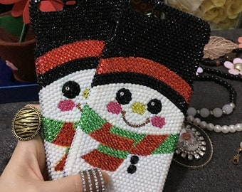 Lovely Shining Girly Christmas Snowman Sparkles Bling Colorized Gems Crystals Rhinestones Diamonds Pearls Hard Cover Case for Mobile Phones