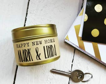 Personalised new home candle - Handmade soy wax tin candle - new home gift - personalised gift -scented soy candle - new home couple gift