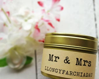 Welsh Mr and Mrs candle - Handmade soy wax scented candle- natural wax - welsh wedding gift candle - welsh llongyfarchiadau candle - gift