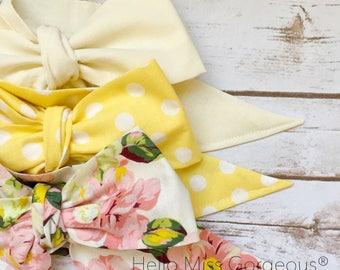 Gorgeous Wrap Trio (3 Gorgeous Wraps)- Ivory, Dottie Lemon & Linen Floral Gorgeous Wraps; headwraps; fabric head wraps; headbands