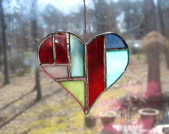 Heart shape stained glass ornament,suncatcher: My Heart B