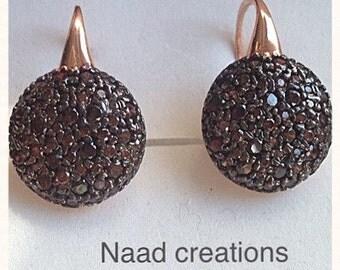 "Pinkish Silver earrings type ""sand"""