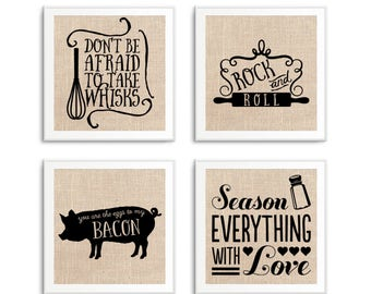 Funny Kitchen Signs, Art, Decor, Set of 4 Kitchen Quotes on Burlap, 4 Sizes Available
