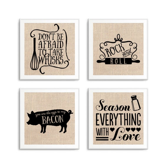 Kitchen Signs Sayings: Funny Kitchen Signs Art Decor Set Of 4 Kitchen Quotes On