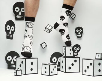 Black and White Skull Playing Socks for Men and Women. Fun patterned socks. Free delivery!
