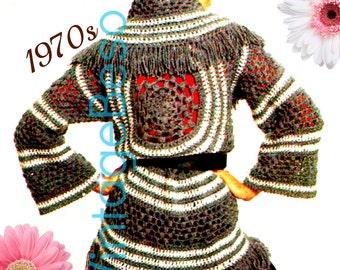 Instant Download - PDF Pattern - Cardigan Crochet PATTERN Vintage Grey BOHO Circle Wrap 1970s Top Bohemian Clothing Hippie Boho Coat Pattern