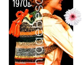 Backpack Vintage Crochet Pattern PDF Instant Download Double Strap Tote Bag Satchel Knapsack School Bag Drawstring Sack Carrying 1970s