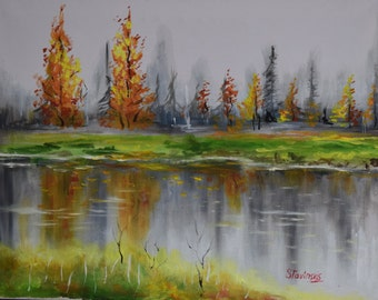 """Original Painting 40x50cm (16x20 Inch) Oil on Canvas """"river in autumn"""" andscape"""