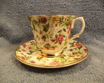 Floral Chintz Cup And Saucer With Gold Trim Fine Bone China