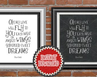 Godspeed Sweet Dreams Nursery Room Wall Art Decor Dixie Chicks Song Lyrics Quote Oh My Love Will Fly To You Each Night On Angel's Wings 5202