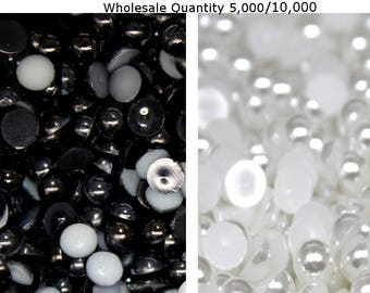 5000-10000 4mm - 5mm Wholesale Flat Back Pearls Cabochons White or Black