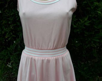 Vintage 1970s Pastel Pink Loomtogs Polyester Tennis Dress
