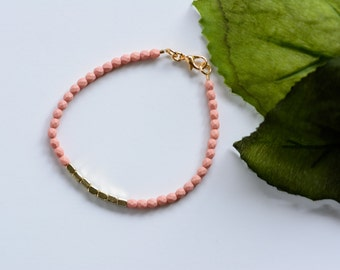 Peach and Gold Bracelet