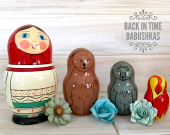 Vintage Animal Nesting Dolls, Fairy Tale Nesting Dolls, Russian Dolls. Little Res Riding Hood. Babushka Girl with Bear, Wolf, and Red Swan.
