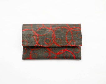 Women's leather wallet card case holder - Painted - Small - Mini - Red - Circle - Envelope - Cash - Business - Photo - Mini - Clutch